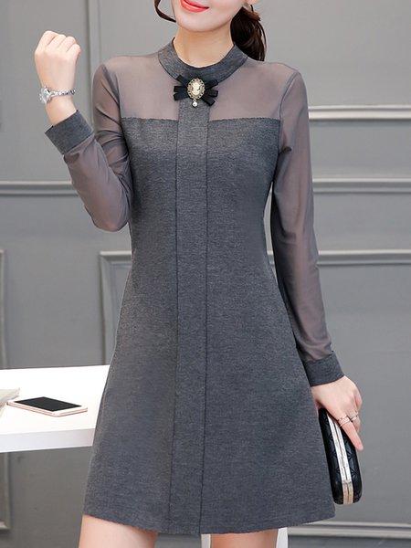 Women Casual Dress Stand Collar A-line Daily Long Sleeve Cotton Dress