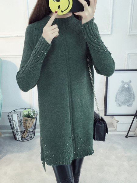 Beaded Knitted Stand Collar Slit Sweater