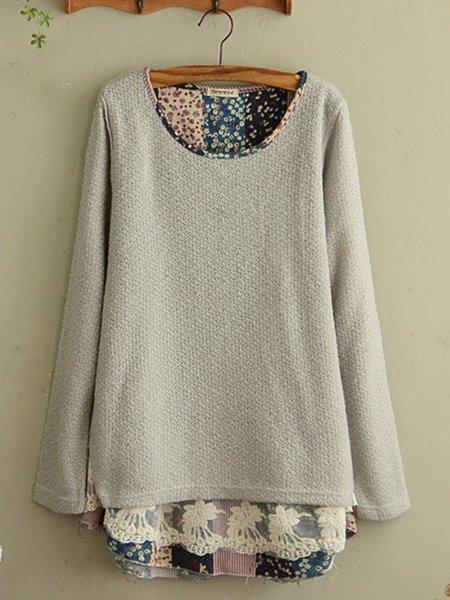 Paneled Long Sleeve Casual  Sweater