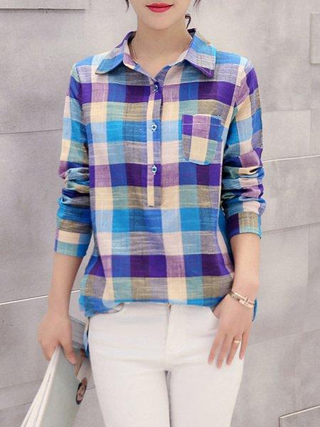 Plaid Casual Long Sleeve Linen Blouse