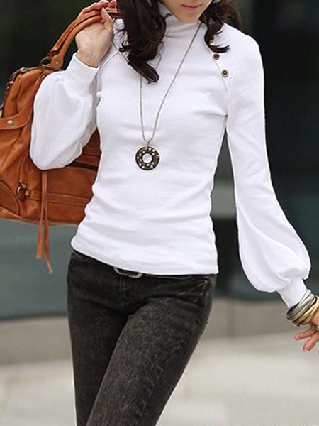 Solid Balloon Sleeve Casual Buttoned T-Shirt