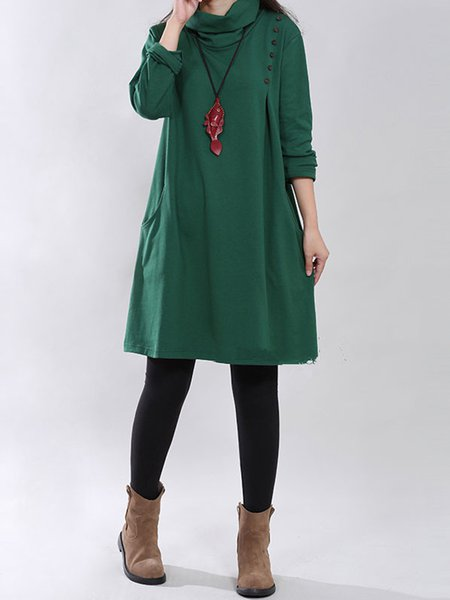Women Casual Dress Cowl Neck Shift Going out Cotton Solid Dress