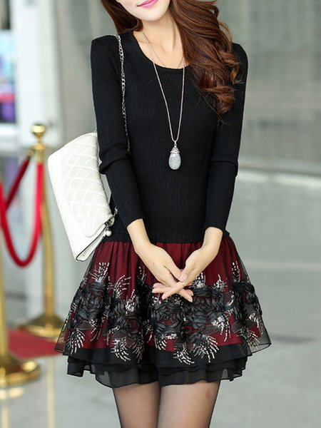 Paneled A-line Knitted Casual  Dress
