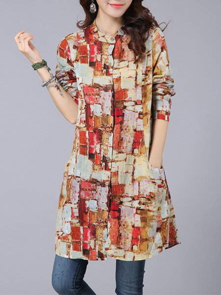 Red Casual Abstract Stand Collar Linen Blouse