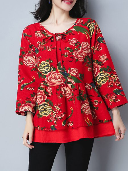 Long Sleeve Floral Casual Tie-neck Blouse
