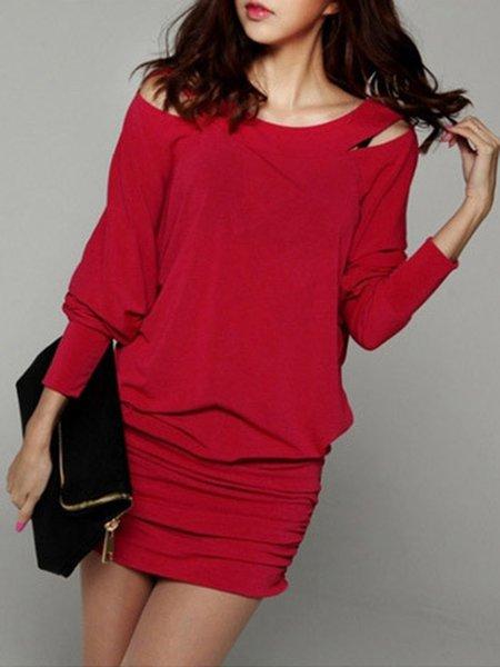 Women Casual Dress Cold Shoulder Shift Daily Casual Cotton Dress