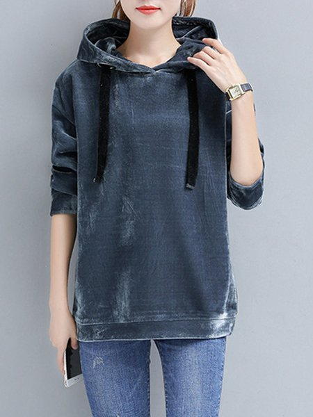 Fashion Warm Solid Velvet Casual Long Sleeve Hoodie