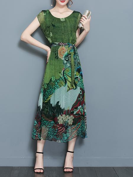 JustFashionNow Multicolor Women Print Dress Crew Neck A
