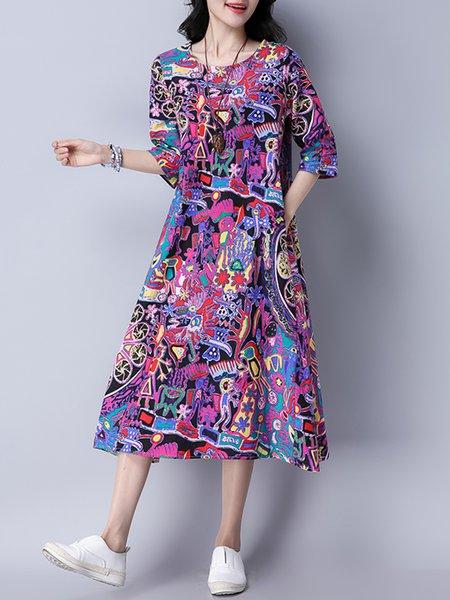 Women Print Dress Crew Neck Shift Daily 3/4 Sleeve Slit Dress