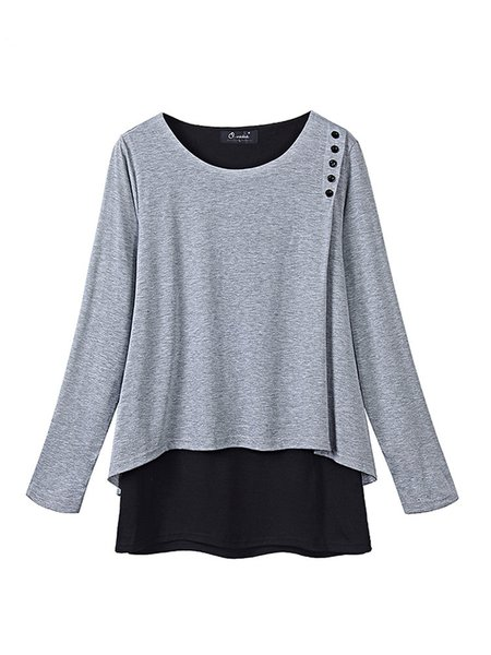 Gray  Long Sleeve Buttoned Crew Neck Tunic