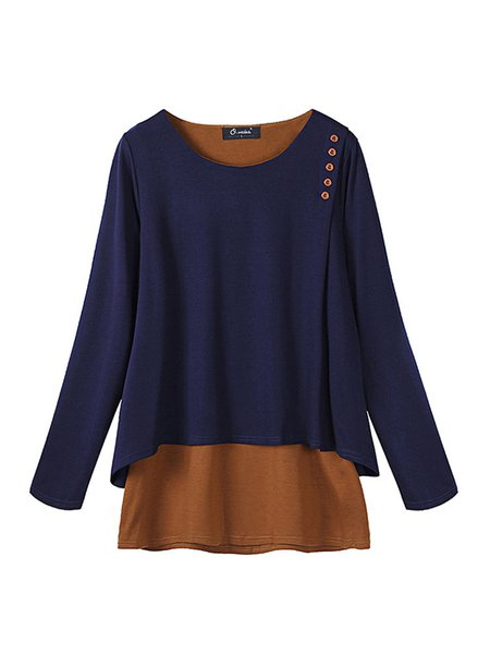Buttoned H-line Paneled Crew Neck Casual Tunic