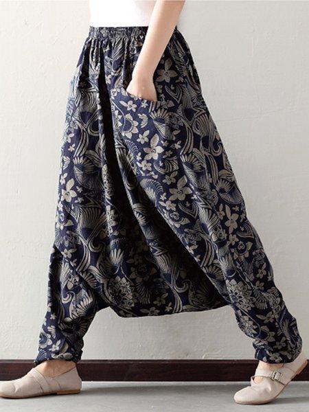 Navy Blue Floral Printed Linen Wide Leg Pants