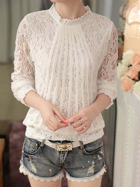 White Elegant Stand Collar Guipure Lace  Blouse