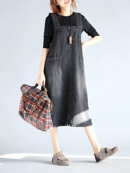 Black Pockets Spaghetti A-line Denim Dress