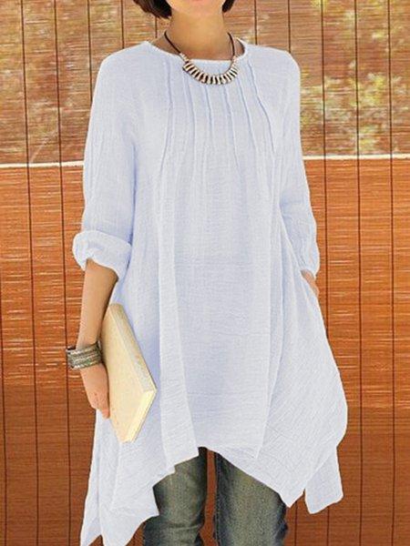 Women Casual Dress Crew Neck Asymmetrical Daytime Casual Buttoned Dress