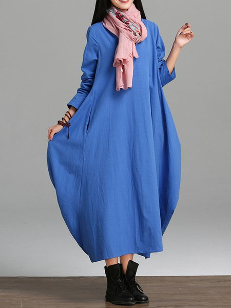 Blue Women Casual Dress Crew Neck Cocoon Daytime Casual Cotton Dress