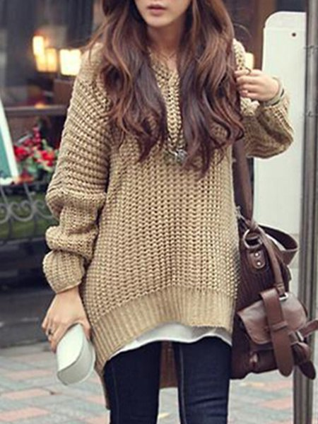 Fashion Casual Hoodie Solid Asymmetric Sweater