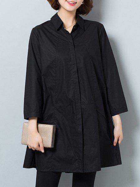 Stylish Solid Pockets Shirt Collar Long Sleeve Shirt