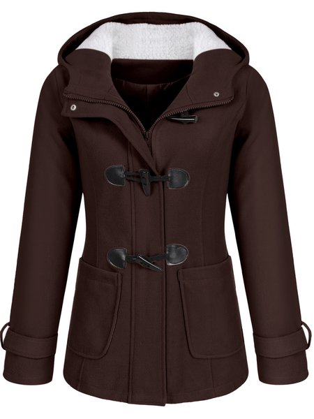 Buttoned Long Sleeve Hoodie Pockets Solid Pea Coat ...