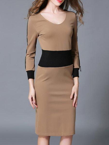Khaki Stylish Elegant Slim Sheath Dress with Detachable Poncho