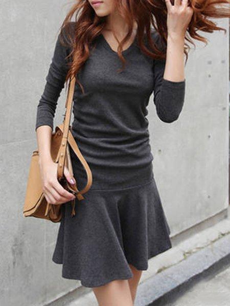 Fall V-Neck A-line Long Sleeve Solid Dress