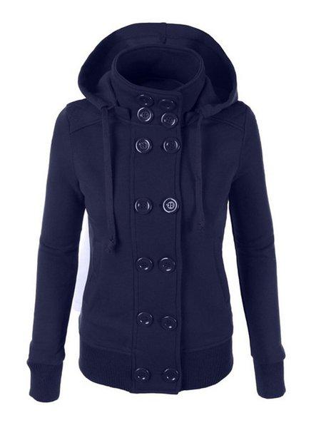 Women's Coats Casual Solid Buttoned Hoodie Sweatshirt Peacoat ...