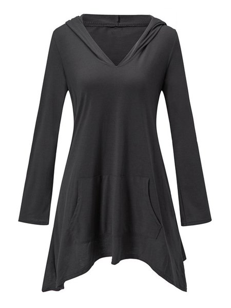 Solid Hoodie Long Sleeve Pocket V-Neck Asymmetric Tunic Top