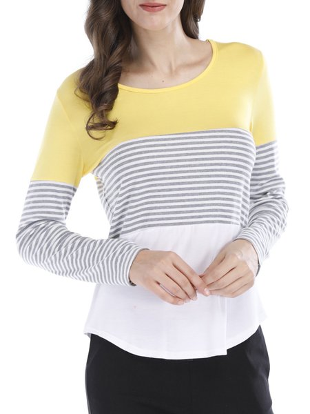 Casual Paneled Stripes Long Sleeve T-Shirt