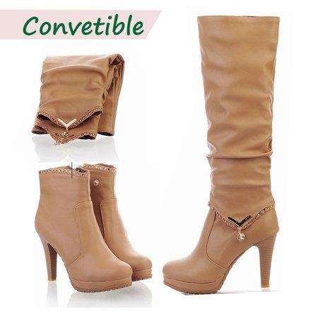 Convertible Zipper Rhinestone High Heel PU Boots