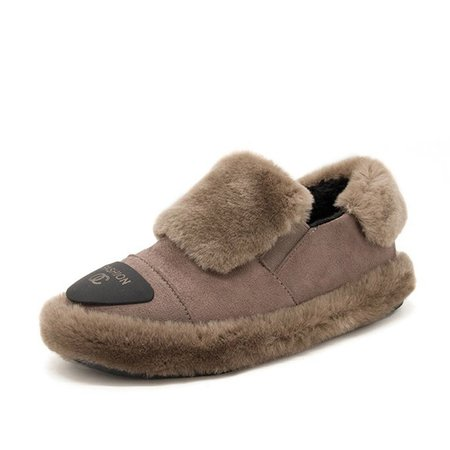 Faux Suede Fuzzy Logo Patch Low Heel Loafers