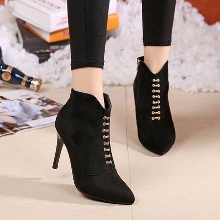 Metal Zipper High Heel Faux Suede Boots