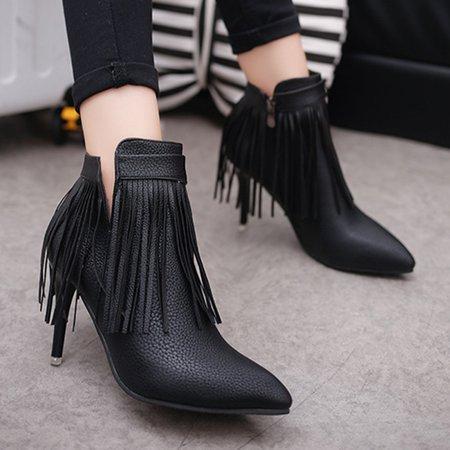Fringed PU Zipper Casual High Heel Boots