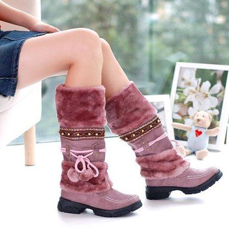 Beading Fleece Lined Warm Boots with Pom Pom