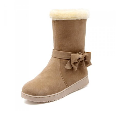 Non Slip Winter Bowknot Faux Suede Casual Boots