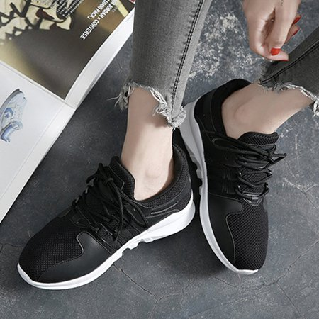 Breathable Low Heel Mesh Panel PU Lace-up Sneakers