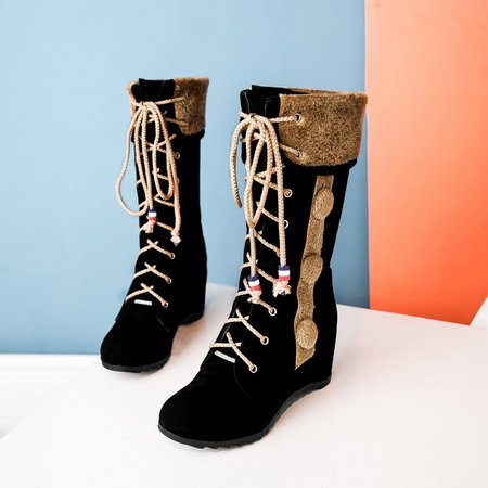 non slip wedge heel suede lace up fold boots