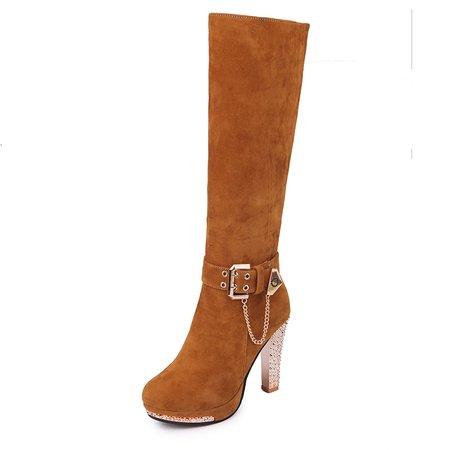 Rhinestone Faux Suede Buckle High Heel Zipper Boots