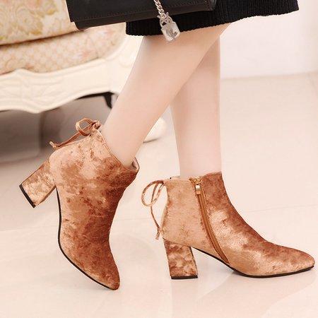 Elegant Bowknot Velvet Chunky Heel Boots