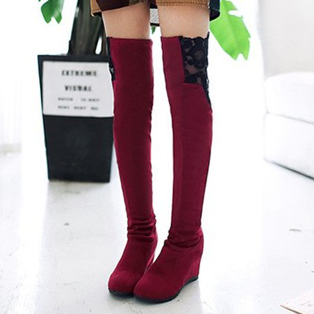 Faux Suede Paneled Lace Wedge Heel Knee Boots