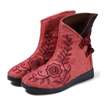 Flower Embroidered Non Slip Buttoned Cloth Boots