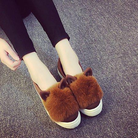 Fuzzy Casual PU Slip On Platform Loafers