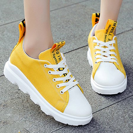 Lace-up Athletic Platform Canvas Sneakers
