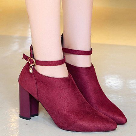 Chunky Heel Zipper Buckle Strap Suede Boots