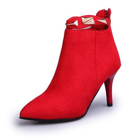 Elegant Zipper Rivet Casual High Heel Boots