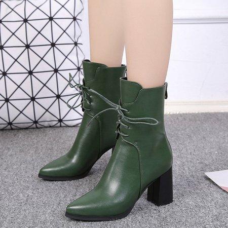 Dress Lace-up PU Chunky Heel Martin Boots