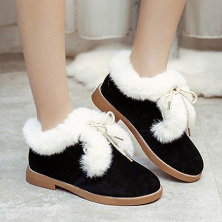 Fuzzy Bowknot Winter Fleece Lined Non Slip Boots