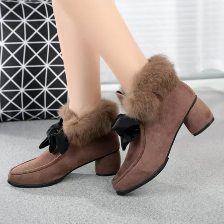 Fuzzy Faux Suede Bowknot Chunky Heel Boots