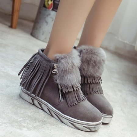 Fringed Platform Faux Suede Fuzzy Zipper Boots