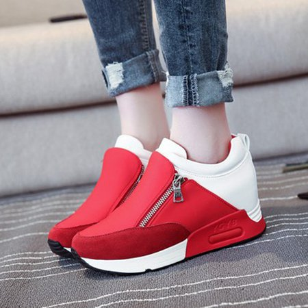 Wedge Heel PU Paneled Suede Zipper Sneakers