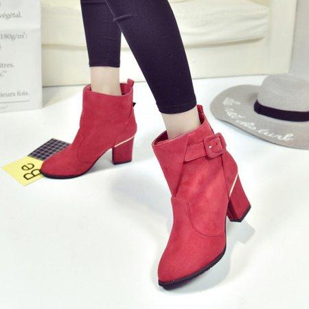 Elegant Buckle Dress Chunky Heel Suede Boots